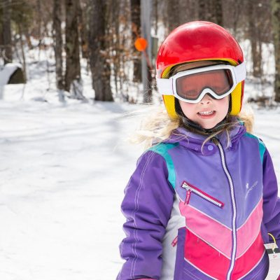 Young girl in ski gear at Kids Holiday Camps at Belleayre Mountain